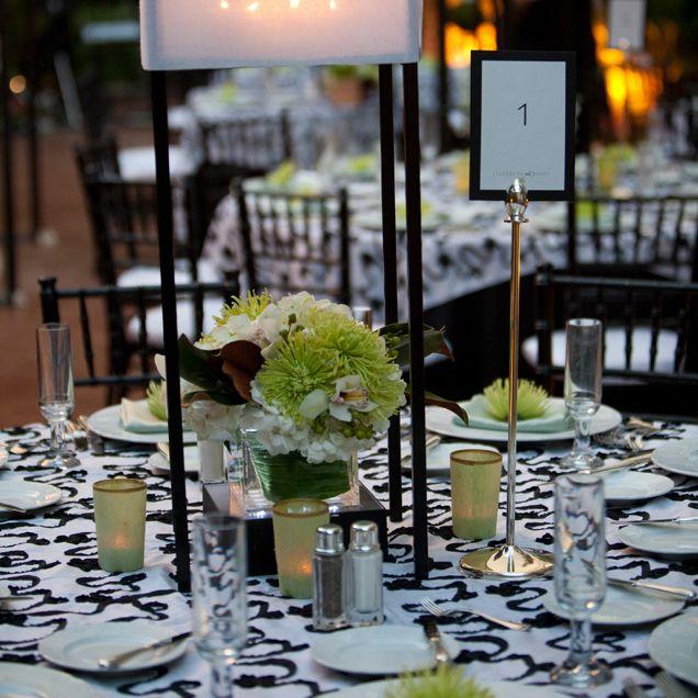 green, black and white elegant wedding ceremony in las vegas.