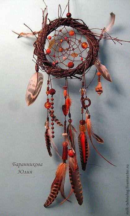 """Ловцы снов ручной работы. Ярмарка Мастеров - ручная работа. Купить Ловец снов """"Дом Солнца"""". Handmade. Рыжий, коричневый"""