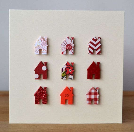 Handmade personalised New Home card  red & cream by ElsieBobbins, £2.95