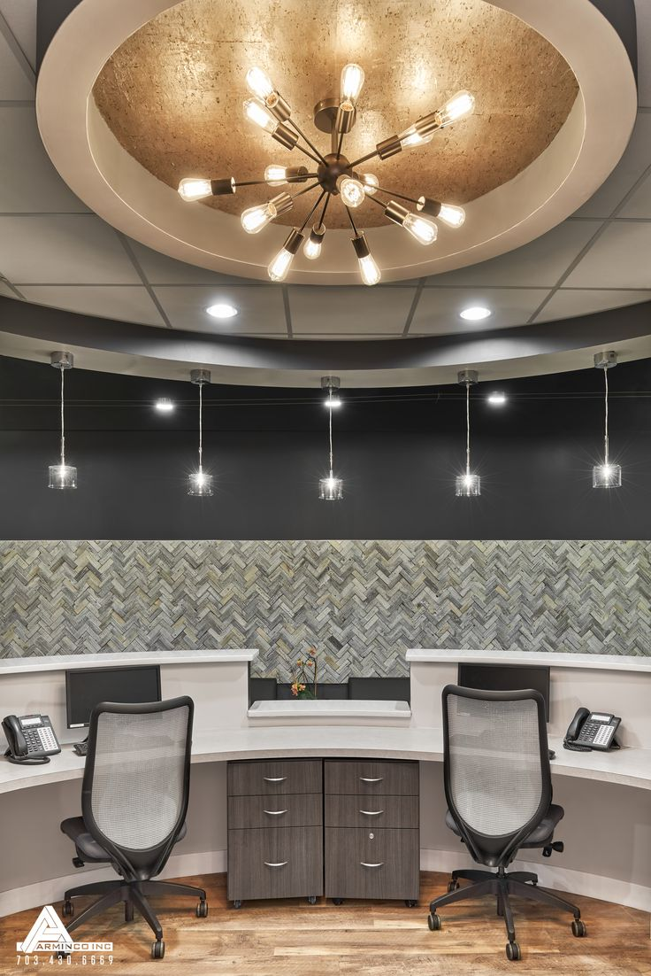 Gold Reception Lighting. Dental Office Design by Arminco Inc.                                                                                                                                                                                 More