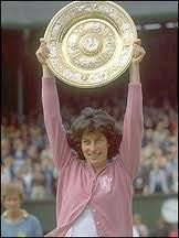 Like the monogrammed sweater. Virginia Wade, 1977.
