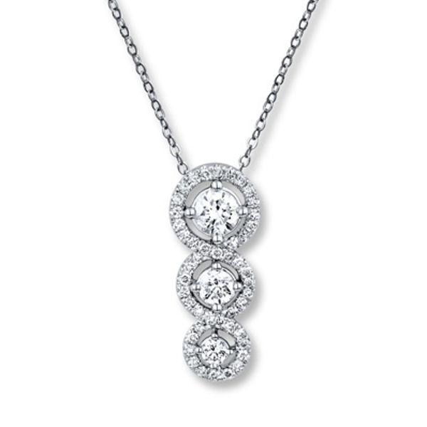 Diamond Necklace 1 ct tw Round-cut 14K White Gold