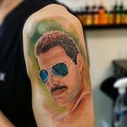 Freddie Mercury tattoo by Justyna Kurzelowska1