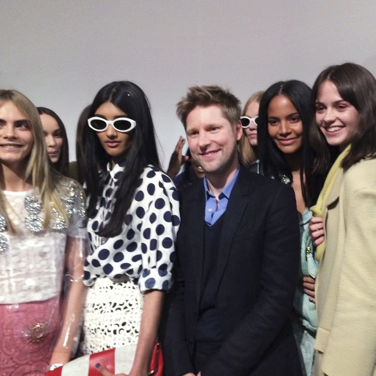 Chief Creative Officer Christopher Bailey with models backstage at the Burberry Prorsum S/S14 show - shot with #iPhone5s