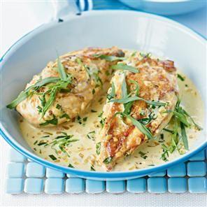 Tarragon chicken Recipe - similar to the crock pot dish I'm making tonight.
