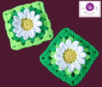 3d flower granny square free pattern