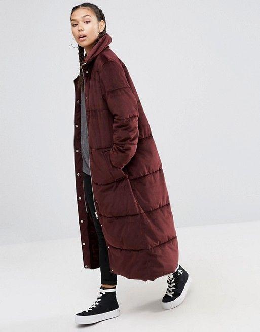 ASOS velvet burgundy oversize longline quilted coat