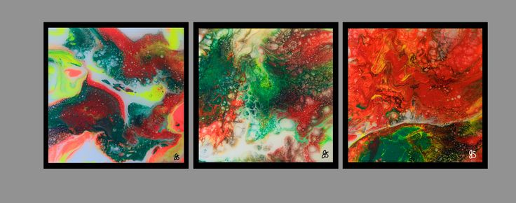 "Acrylic pour & resin paintings by Joyce Sherwin. 12"" x 12"" each. Black metal frames."