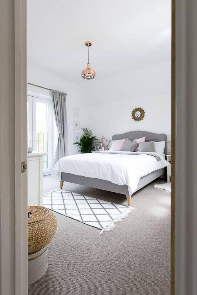 20 Popular Bedroom Paint Colors That Give You Positive Vibes Harp Post Grey Carpet Bedroom Grey Carpet Copper Bedroom Decor