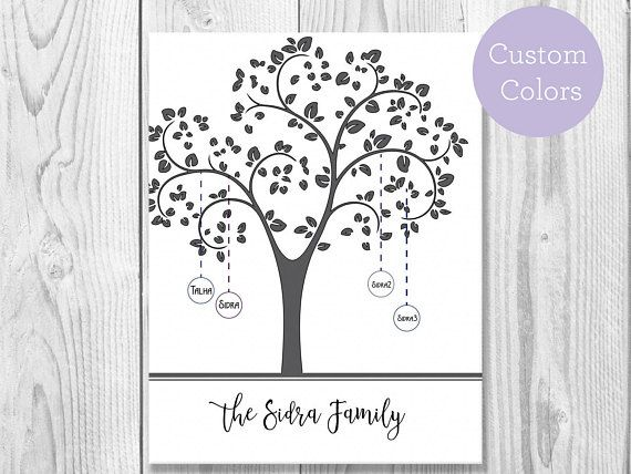Custom Colours Family Tree Digital Download Print Family
