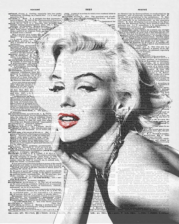 marilyn monroe with red lips vintage dictionary page by artonpage mm pinterest alte. Black Bedroom Furniture Sets. Home Design Ideas