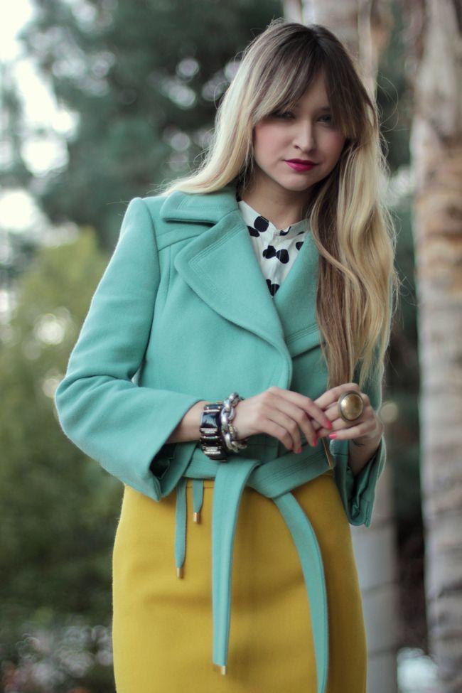 light blue jacket, polka dot top, yellow skirt, fuschia lips - www.lateafternoonblog.com