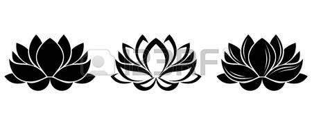 Lotusbloemen silhouetten Set van drie vector illustraties  Stockfoto