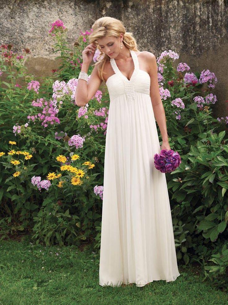 Halter Beaded Chiffon Empire Waist Sheath Informal Simple Wedding Dress - paybridal.com [BOTS0261] - $172.99