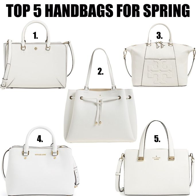 Top 5 Handbags for Spring - click the photo for details! http://www.stylishpetite.com/2016/05/top-5-white-handbags-for-spring.html