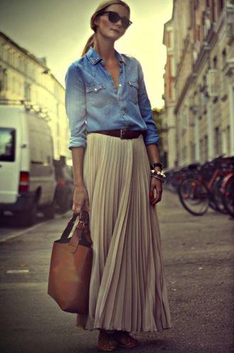 Denim shirt and nude maxi skirt! Chunky bangles.