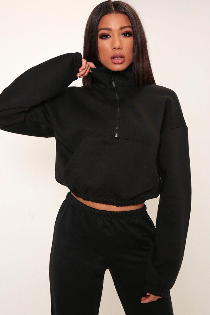 03e2835e0e5d Black half zip ponte sweatshirt in 2019 | Clothes Wishlist | Dress ...