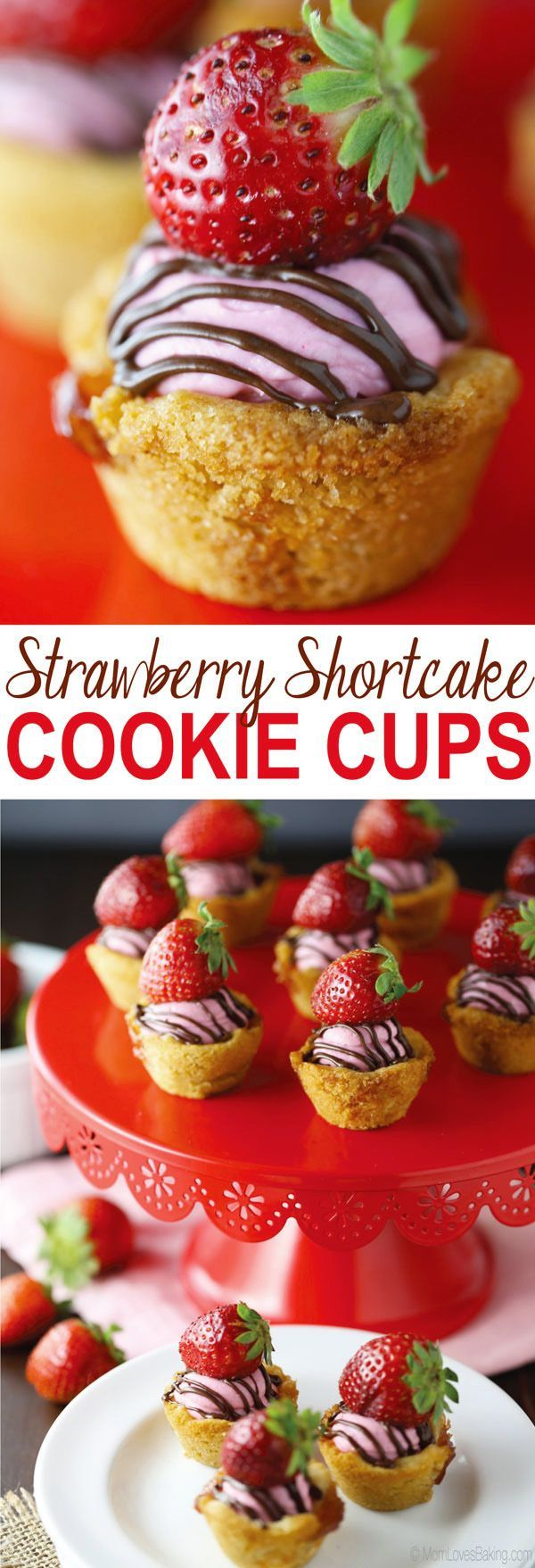 Whip up these Strawberry Shortcake Cookie Cups in no time flat! Recipe on http://MomLovesBaking.com. #ad #SpringItOn #NestleKitchen