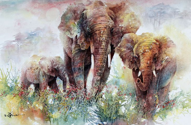 elephants-watercolor.jpg (864×568) lian quan zhen