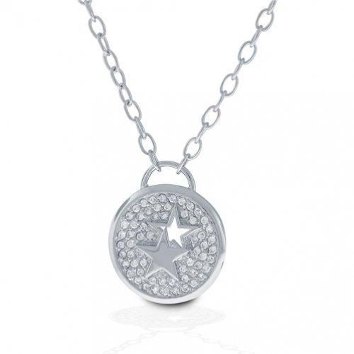 Bling Jewelry Patriotic Sterling Silver CZ Pave Double Star Medallion Necklace