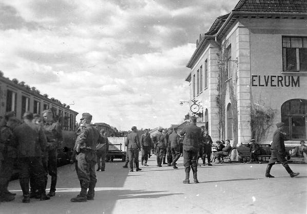 German soldiers in Elverum 1940.