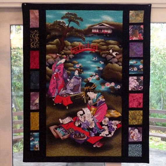 Colorful Asian Panel Quilt, Wall Hanging Quilt, Oriental, Japanese, Chinese…