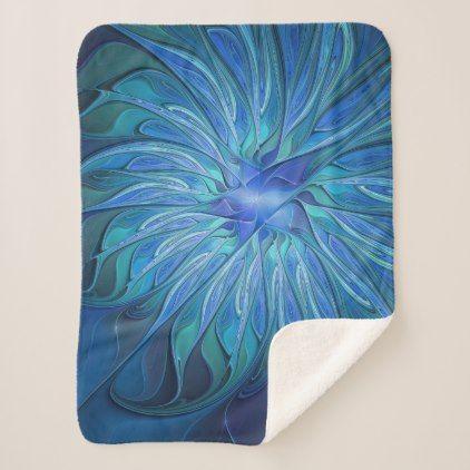 Blue Flower Fantasy Pattern Abstract Fractal Art Sherpa Blanket - floral gifts flower flowers gift ideas