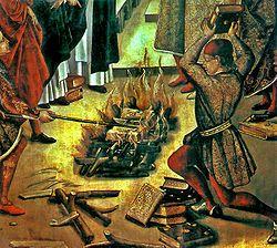 Detalle de Santo Domingo y los albigenses, de Pedro Berruguete, en el que se muestra el milagro según el cual los escritos del santo saltan de la hoguera salvándose de las llamas de la ordalía, mientras se consumen los escritos de los albigenses.