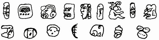 EL sistema de escritura maya se supone que es mixto y fue usado desde el 200 a. C. hasta el 900 d. C. en su forma monumental (primera línea) y desde el 1300 al 1500 d. C. en su forma cursiva (segunda línea). En el primer caso el sentido de la escritura es de arriba hacia abajo en columnas de a dos, en el segundo caso es en sentido serpenteante.