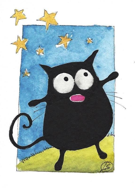 ACEO Original watercolor painting whimsical FAT CAT ART starry night #IllustrationArt