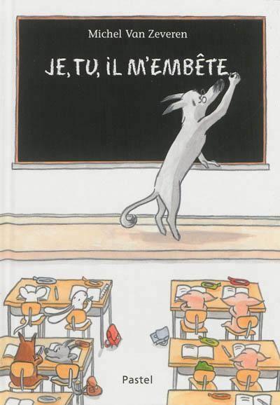 Je, tu, il m'embête - Maître loup demande aux enfants de ne pas faire de bêtises lorsqu'il s'absente. Aujourd'hui, petit loup décide d'embêter petit lapin, tandis que petite souris embête petit loup. Un sanglier arrive et se fait embêter par petite biche, lorsque les trois petits cochons interviennent. Tout ce petit monde finit par s'ennuyer. / Michel Van Zeveren ; d'après une idée originale de Michaël Escoffier