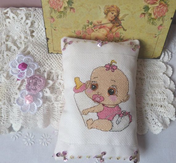 cute baby pillow Pillow Love Baby Girl  by CrossStitchElizabeth