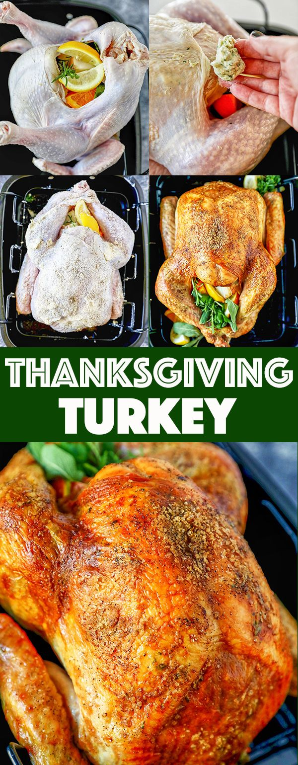 Crispy golden brown skin and flavorful turkey meat, spread homemade garlic herb butter under the skin for a perfectly roasted turkey that will be the star of your Thanksgiving dinner. #dinner #thanksgiving