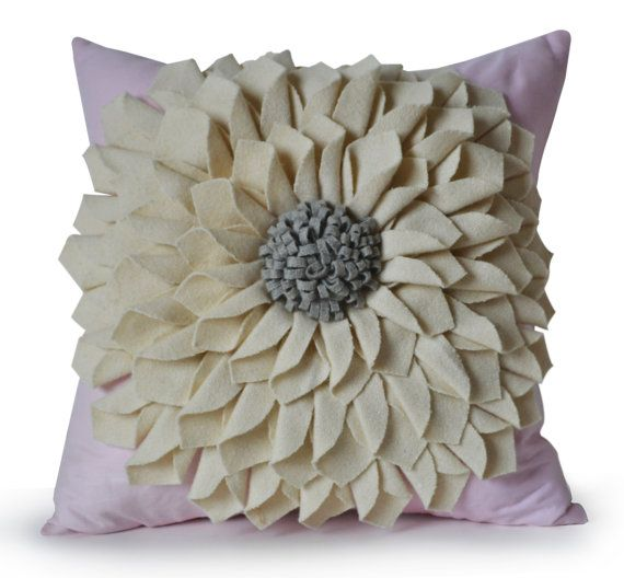 Felt Flower Pillow Cover Ivory Gray Pillow Case Floral