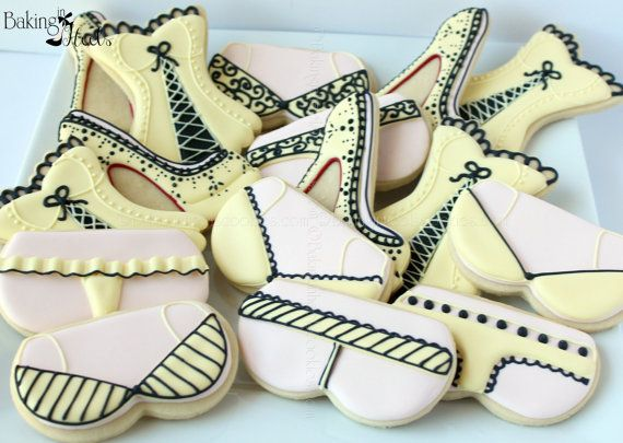 Cookie Set includes:  4 Louboutin inspired shoe cookies  4 Bra cookies  4 Panty cookies  4 Corset Cookies    You can pick two colors per dozen