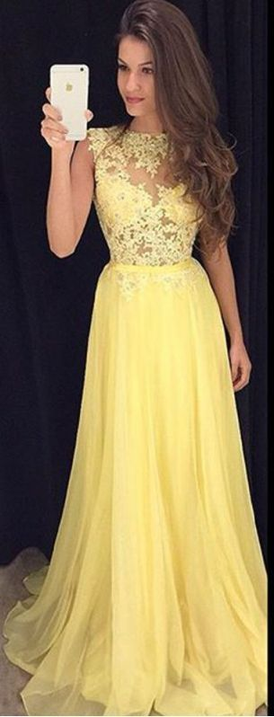 New Arrival Prom Dress Yellow Long Prom Dresses Elegant A-line Chiffon Prom Dresses 2017 Evening Formal Gowns