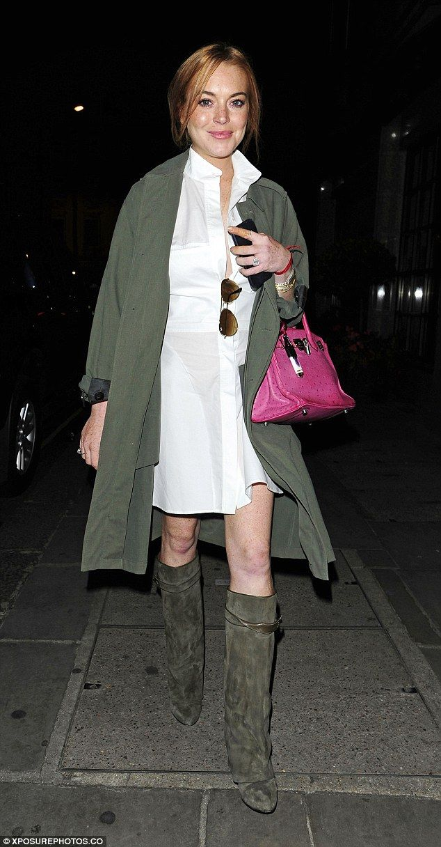 Another night, another outfit: Lindsay Lohan enjoyed her third London night out in a row this week as she headed for dinner with friends in Mayfair
