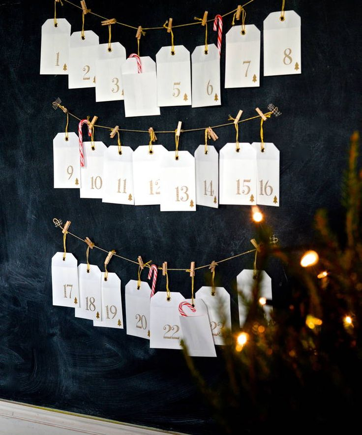 Cream And Gold Envelope And Peg Advent Calendar