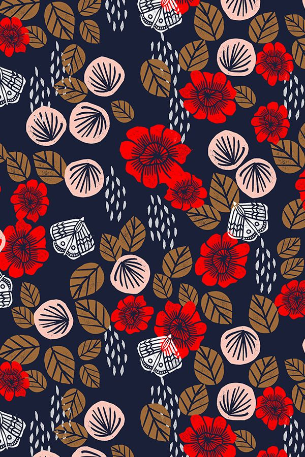 Butterfly Garden by andrea_lauren - Cardinal Red/Pale Pink/Imperial Blue/Wood Brown/White flowers and butterflies on fabric, wallpaper, and gift wrap. Bold vintage colors on a navy background. #blockprint #interior #surfacedesign #design #vintage #crafty