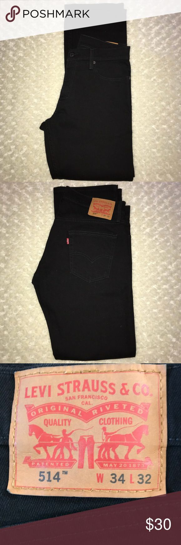 Men's black Levi 514 straight jeans 34W X 32L NWOT Men's black Levi jeans size 34W X 32L new without tags never worn, no holes, stains, or pulls Levi's Jeans Straight