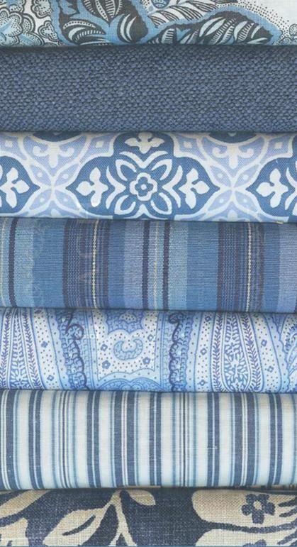 Blue and white fabric ~ from Barclay Butera Interiors.