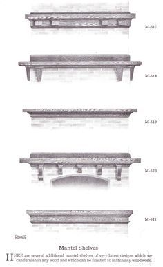 """Mantel shelves published in millwork catalog in1921 by the Morgan Woodwork Organization and called """"Building with Assurance."""""""