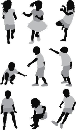 Vectores libres de derechos: Multiple images of children playing