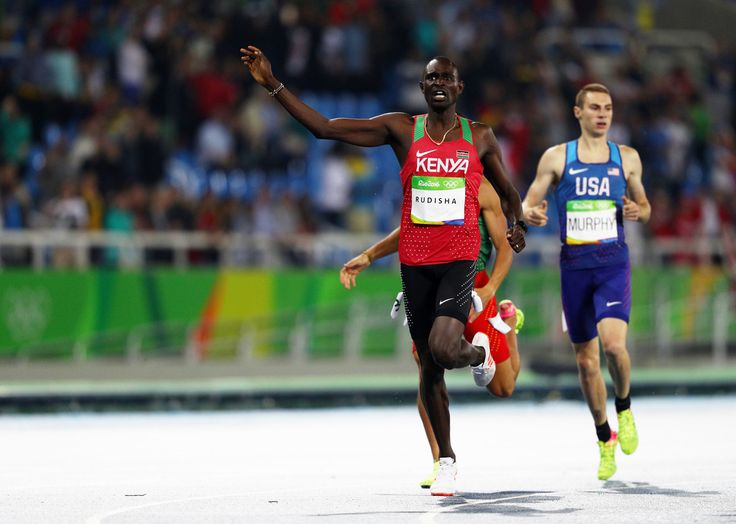 David Lekuta Rudisha of Kenya reacts after winning the Men's 800m Final on Day 10 of the Rio 2016 Olympic Games at the Olympic Stadium on August 15, 2016 in Rio de Janeiro, Brazil.