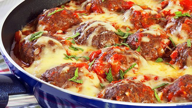 Cheesy Meatball Skillet. Mama Mia, these are good. It's in the genes, yet low in fat and carbs so we can get into the jeans. Bariatric perfection.