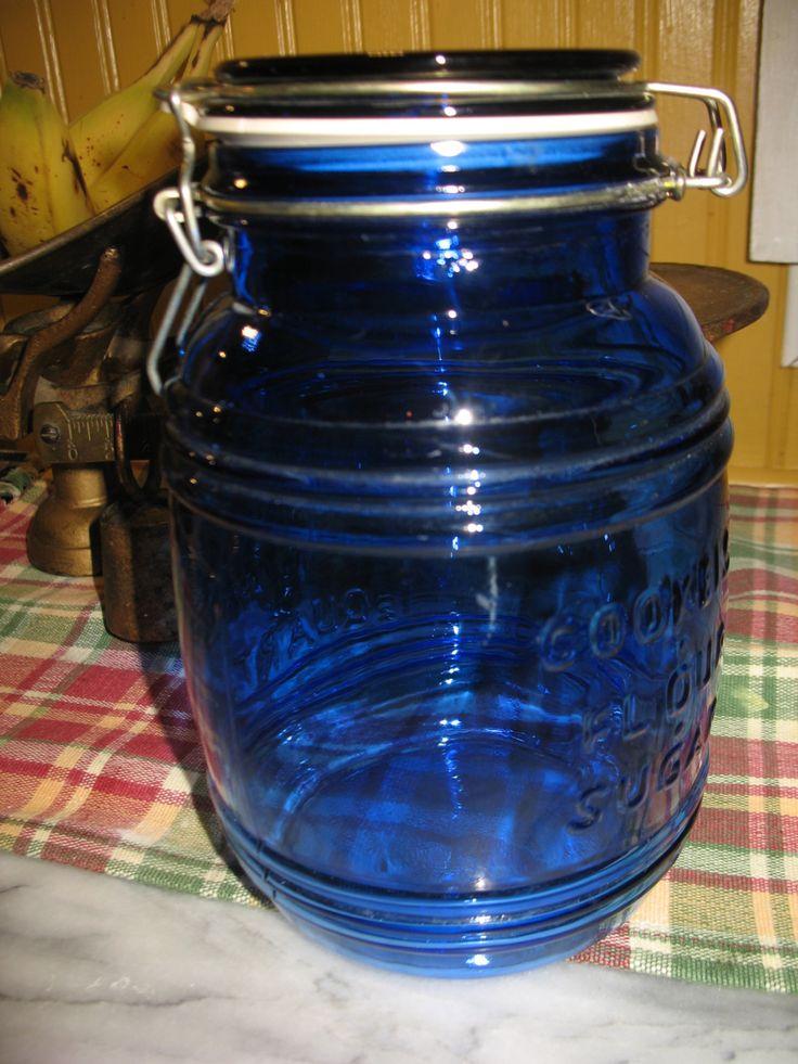 Vintage jarre bleu cobalt ( cracker barrel style ) de 1.5 q.t biscuit, sucre, farine. de la boutique NorDass sur Etsy