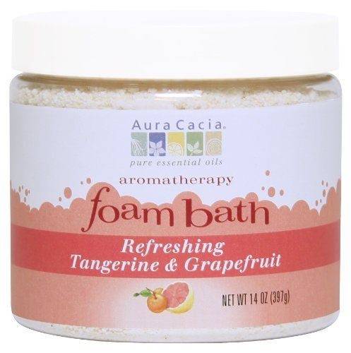 Aura Cacia Refreshing Tangerine/Grapefruit, Aromatherapy Foam Bath, 14-Ounce Jar (Pack of 2) by Aura Cacia. Save 17 Off!. $19.97. Aura Cacias aromatherapy foam baths feature our 100% pure essential oils that provide true aromatherapy benefits for the mind, body and spirit. We are proud to offer all-natural foam baths, crafted with gentle coconut cleansers which leave the skin soft and supple. Enjoy a spa-like experience in the comfort of your own home. Step into your luxuri...