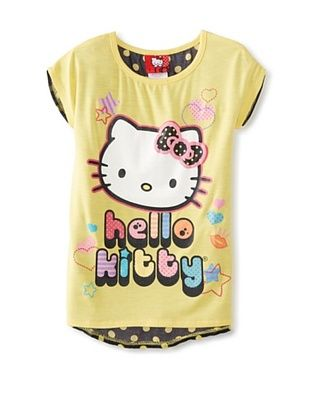 67% OFF Hello Kitty Girl's Graphic T-Shirt with Chiffon Back (Aspen Gold)