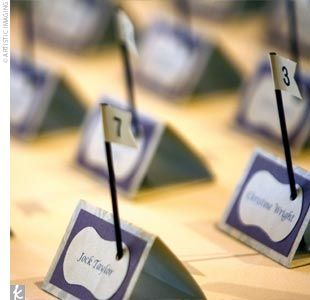 Golf themed Place cards - different hole numbers could represent the meal preference