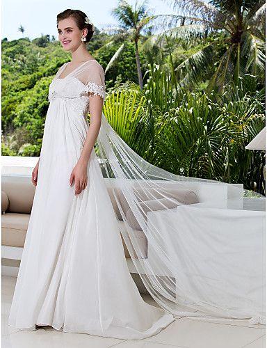 Lanting Bride® A-Linie Extraklein / Übergrößen Hochzeitskleid - Schick & Modern Hochzeitskleider mit Schal Pinsel Schleppe V-Ausschnitt 788857 2016 – €97.99